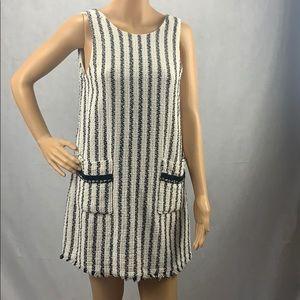 Zara Tweed Striped Dress W Front Pockets